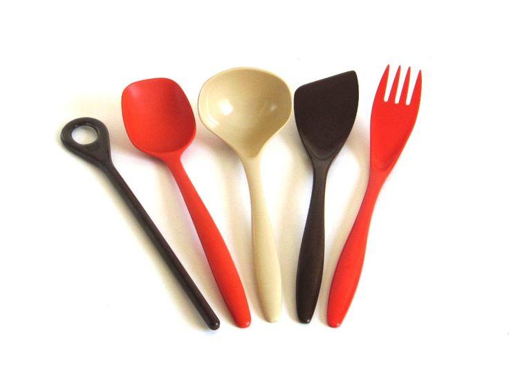 New to LaurasLastDitch on Etsy: Rosti Melamine Kitchen Utensils Danish Modern Spatula Fork Ladle Stir Stick Spoon Orange Brown Beige Hutzler 2531 2530 2525 526 2519 (13.99 USD)