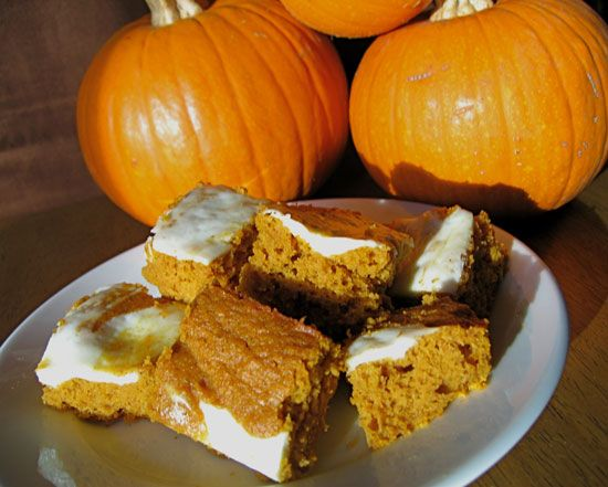 Pumpkin Bars With Cream Cheese Frosting (70 calories per serving). need this now!