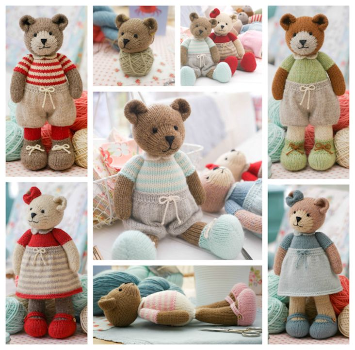 TEAROOM Bear: Method 2 PDF knitting pattern ... Knitted bears in many colours..xx