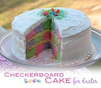 Checkered Cake: Checkered Cakes, Cakes Mixed, Easter Cakes, Easter Recipes, Baby Shower Cakes, Colors Cakes, Cakes Recipes, Cakes Pan, Checkerboard Cakes