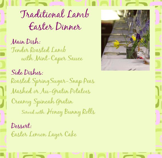 Traditional Easter Dinner Menus And Great Dinner Ideas For