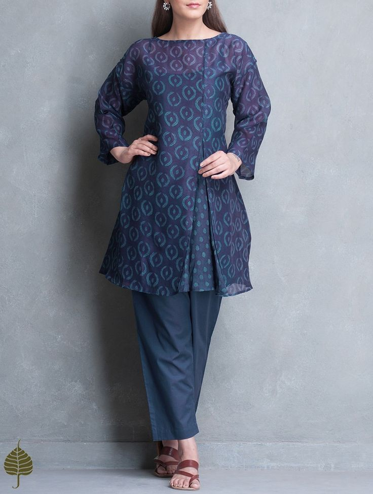 Buy Indigo Dabu Printed Chanderi Kurta with Slip Set of 2 by Jaypore Women Kurtas Online at Jaypore.com