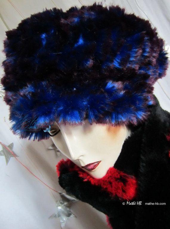 béret bonnet bleu roi & prune couvrechef d'hiver par MatheHBcouture