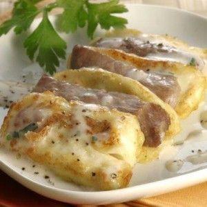 Καπνιστό χοιρινό σαγανάκι με τυρί και μουστάρδα