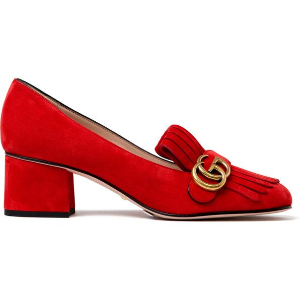 Gucci Marmont Fringe Suede 55mm Loafer (€630) ❤ liked on Polyvore featuring shoes, loafers, heels, flats, kirna zabete, kz red, kzloves /, heeled loafers, suede loafers and red suede loafers