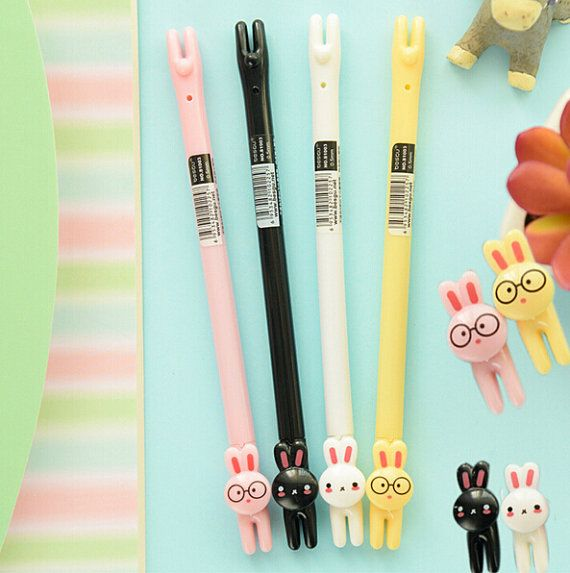 Kawaii Bunny Pen Collection - This pen set comes with four cutie pie bunny pens in black, yellow, pink and white. Four gel pens that will add to any