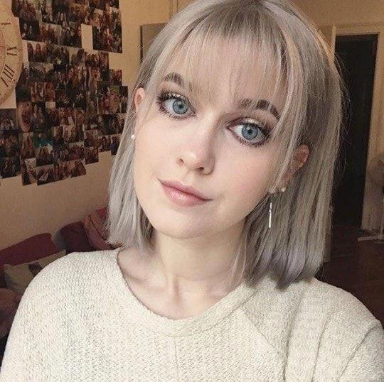woman with silver bob wispy