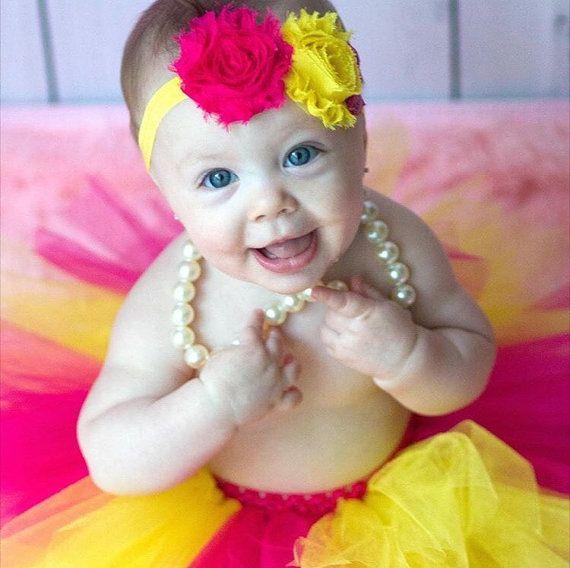 Pink #Lemonade Tutu and Headband, Pink and Yellow Tutu, Baby Tutu, Shabby Chic Headband, Infant Tutu, Toddler Tutu, Newborn Tutu, #Summer Tutu - on #Etsy