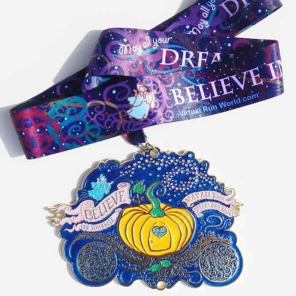 "Virtual Run 5k, 10k, Half Marathon, Marathon or any distance. Large Cinderella Themed 6"" Glitter Virtual Run Medal and Make A Wish Foundation Charity Donation"