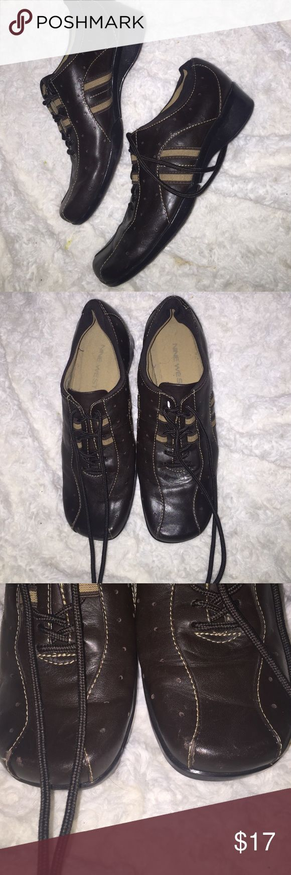 Nine West sneakers Chocolate brown sneakers  by NIEN WESt , worn ince only ,!look like new , genuine upper leather size 6.5 also fit nice size 7 Nine West Shoes