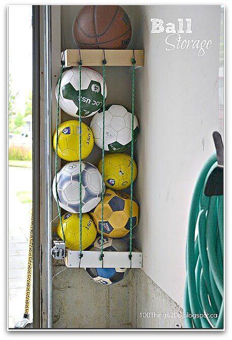 sports equipment storage   garage organization   how to store sports gear   store sports equipment   sports equipment organization