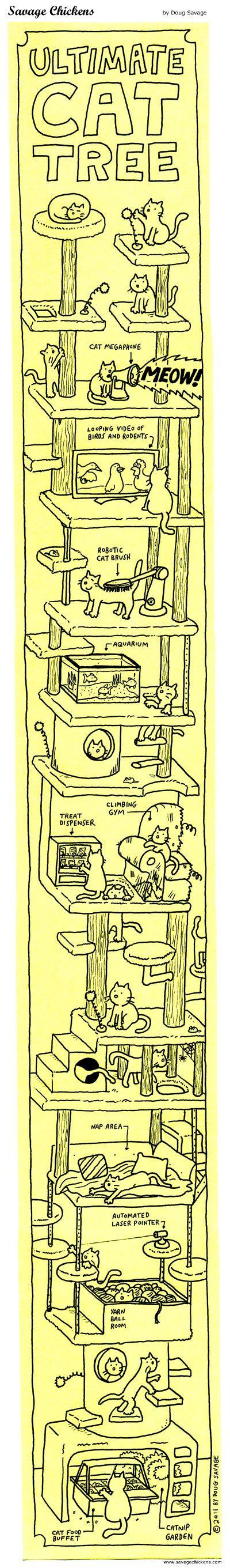 Ultimate Cat Tree Cartoon | Savage Chickens - Cartoons on Sticky Notes by Doug Savage