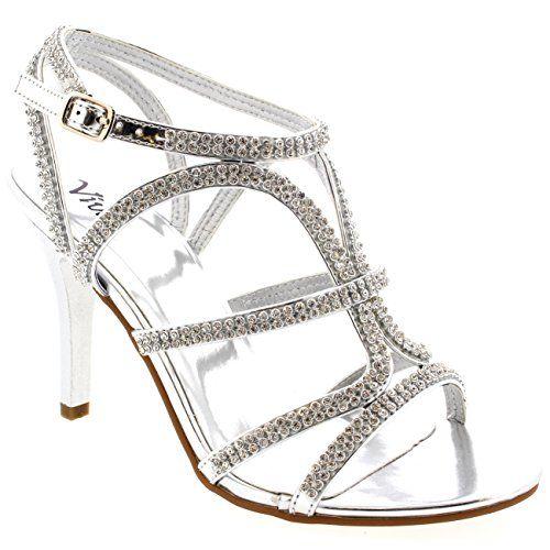 Damen T-Bar Hochzeit Gladiator Diamante Mittelhohem Absatz Sandalen - http://on-line-kaufen.de/viva/damen-t-bar-hochzeit-gladiator-diamante-absatz-2