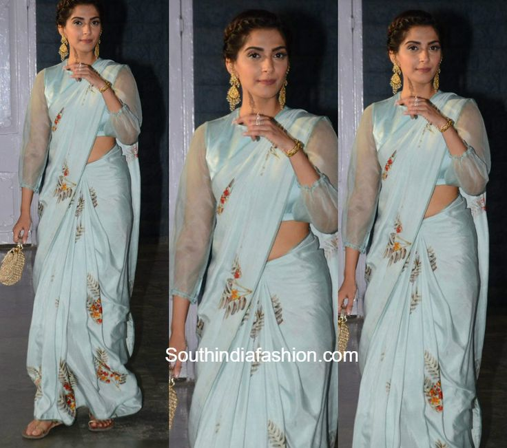At a recent event, Sonam Kapoor looked stunning in a powder blue silk saree by Raw Mango.
