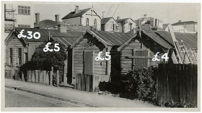 Cottages in Haining Street, Wellington, with 1947 prices