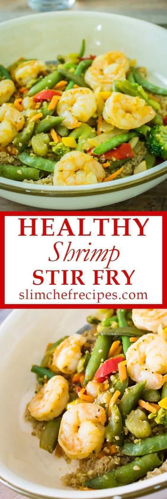 Shrimp stir fry – A simple, healthy and quick dinner based on Asian cuisine. We show you how to make a skinny low carb meal using every day vegetable ingredients like quinoa, peppers and no noodles. #shrimp #stir #fry