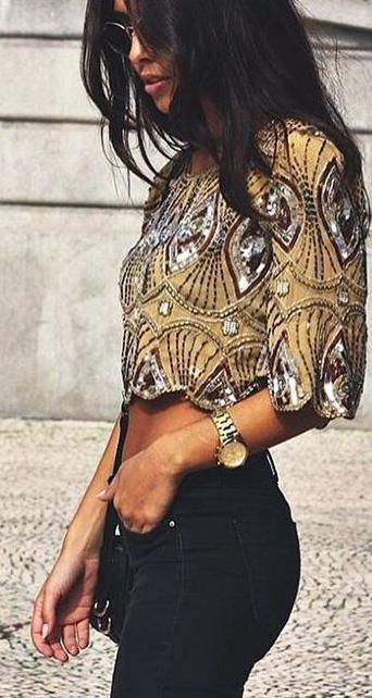 Embellished crop top + black denim.