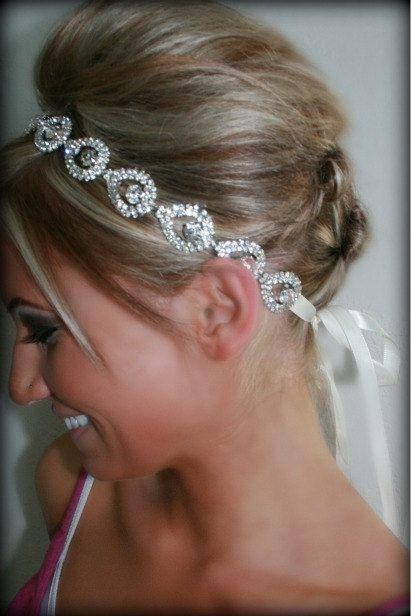 Rhinestone Bridal Headband ELSIE Wedding Headpiece by BrassLotus, $49.95