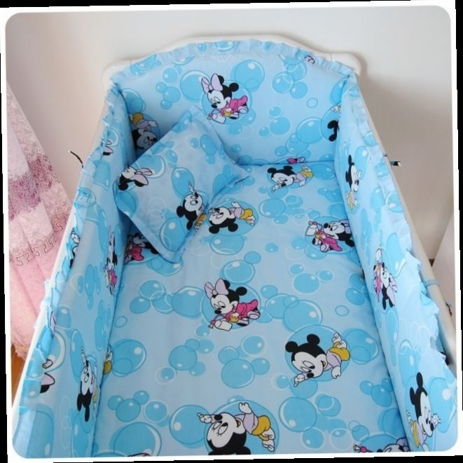 42.80$  Watch now - http://aliepp.worldwells.pw/go.php?t=32367172874 - Promotion! 6PCS Mickey Mouse New Baby Bedding Products Crib Baby Bedding Kit Baby Bed Around (bumper+sheet+pillow cover)