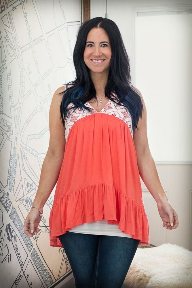 Image of Lace Detailed Tank - Bright Orange