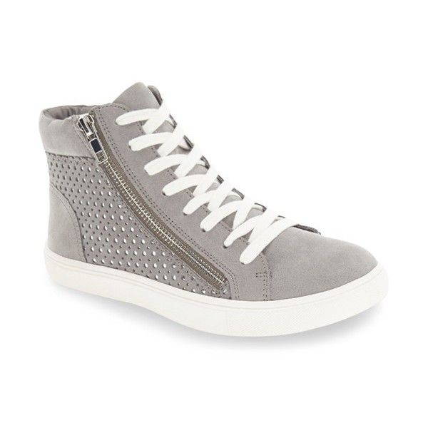 Women's Steve Madden 'Elyka' Laser Cut High Top Sneaker ($90) ❤ liked on Polyvore featuring shoes, sneakers, grey multi, high top trainers, hi tops, gray high tops, steve madden high tops and high top sneakers