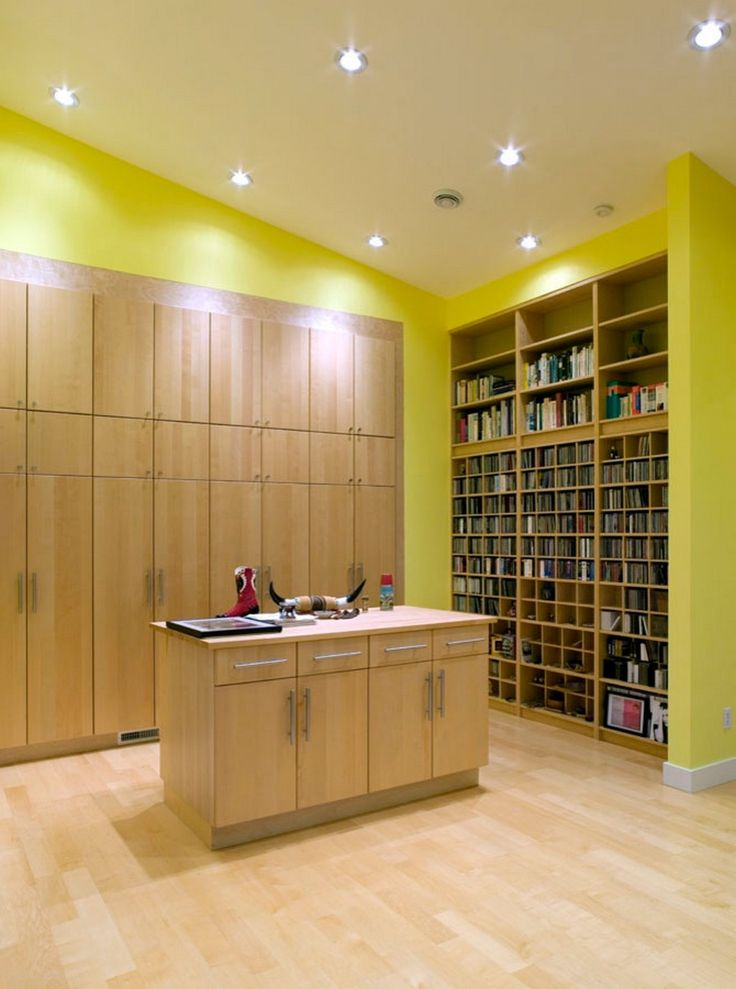 cool home office design with recessed lighting and contemporary storage cabinets also using wood flooring ideas
