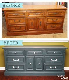 Repurposed dresser turned into a kitchen hutch! Find out the step-by-step way to paint furniture like this. Vandenburg Blue is the amazing paint color used on this before and after dresser makeover.