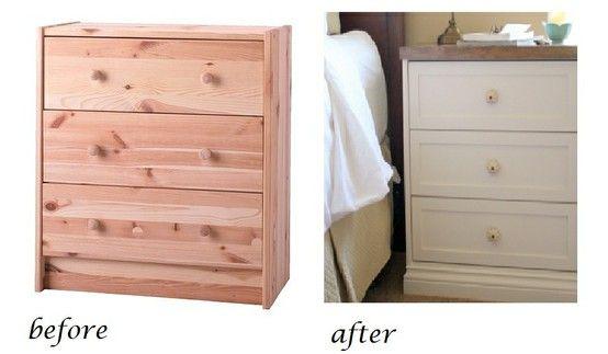 impressive redo of IKEA dresser...love the white paint and dark wood top