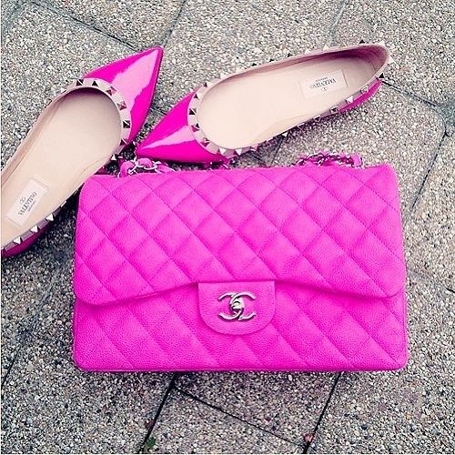 Valentino pink flats and chanel bag