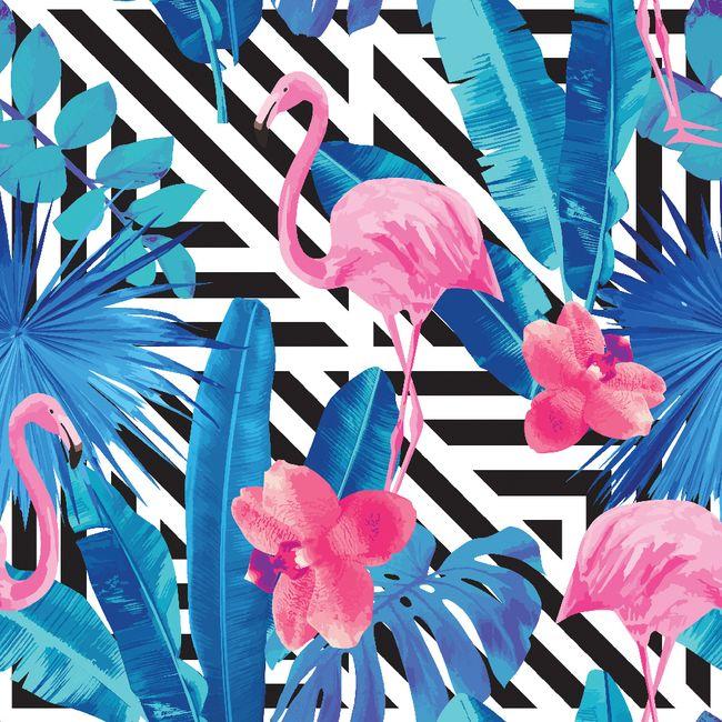 Wyjątkowa tapeta na ścianę - energetyzujące flamingi na biało-czarnym tle