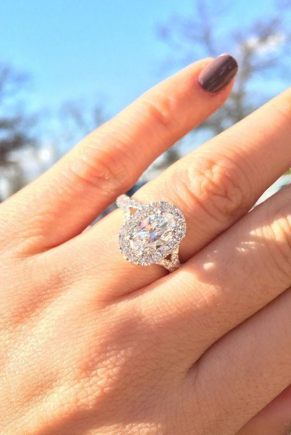 Oval Cut Diamond Halo Engagement Ring With Split Shank 1 17ct