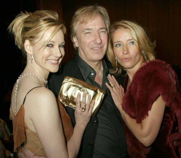 "Actors Laura Linney and Emma Thompson posed beside Alan Rickman at the premiere of the 2003 film ""Love Actually"" (Albert Ferreira/Reuters).."