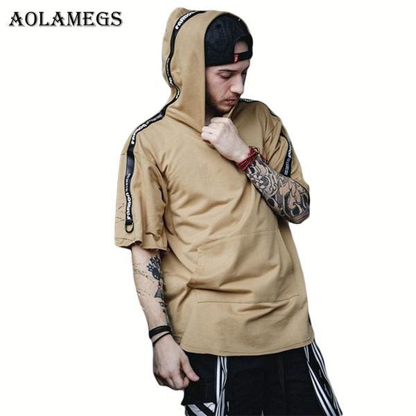 #BestPrice #Fashion Aolamegs Hoodies Men High Street Short Sleeve Thin Hoodie Tee Black Webbing Pullover 2017 Fashion Tide Brand Hip Hop…