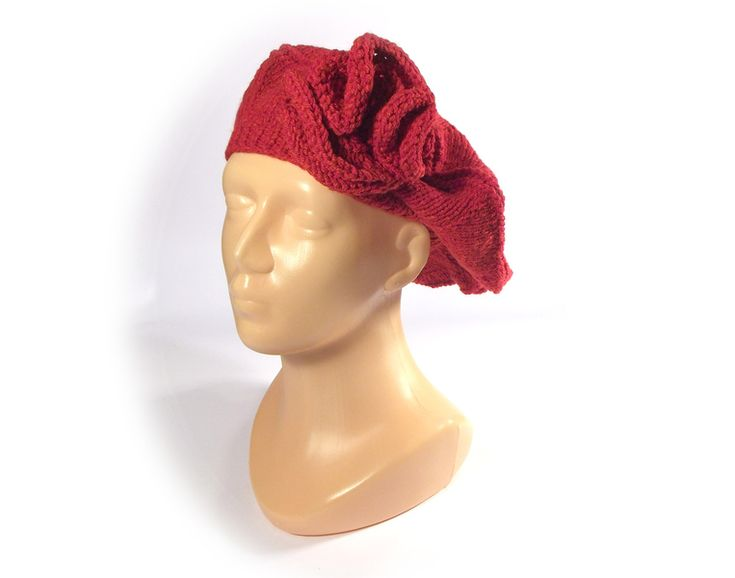 RED RED FLOWER - beret with a flower from betulek by DaWanda.com