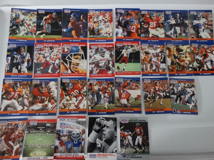 1990 Pro Set Series 1 & 2 Update Denver Broncos Team Set of 28 Football Card #DenverBroncos