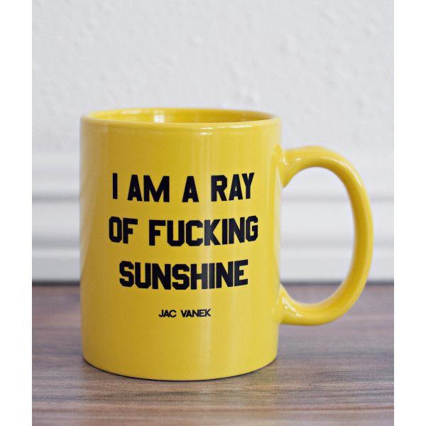Sunshine Coffee Mug ($16) ❤ liked on Polyvore featuring home, kitchen & dining, drinkware, black mugs, yellow coffee mugs, black ceramic mug, yellow mugs and black ceramic coffee mugs
