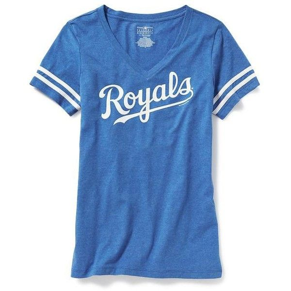 """Old Navy MLB""""¢ V Neck Tee For Women ($23) ❤ liked on Polyvore featuring tops, t-shirts, blue t shirt, blue v neck t shirt, v neck tee, fitted t shirts and blue jersey"""