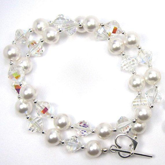 Crystal and Swarovski Pearl Necklace Set Something Old Bridal