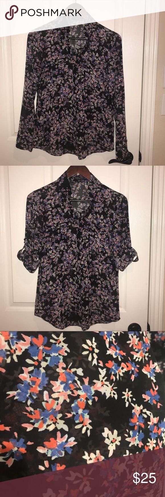Blouse Beautiful all over flower print button down portofino shirt. Express Tops…