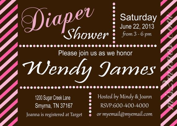 Diaper Shower Baby Shower Invites Diaper Party