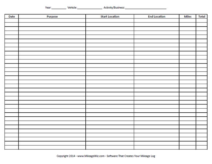 Free Printable Mileage Log Six Columns   westernmotodrags