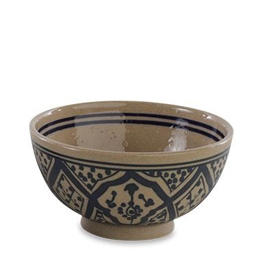 Blue Ida Moroccan Bowl: These pretty Ida stoneware bowls are handmade in Morocco. Each one has been skilfully hand painted in these traditional north African designs.  The stoneware has a strong thermal resistance and each bowl is microwave and dishwasher safe.  Choose from two colours or mix and match for an eclectic look.