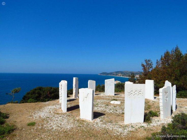 The mini marble Stownhenge near Metallia - sandy bay between high cliffs - Thassos Island