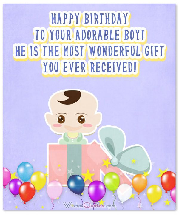 Card With Birthday Wishes For Baby Boy Showing A Cute And Balloons
