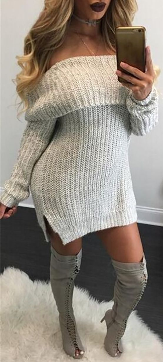 Cozy Off Shoulder Side Split Sweater Dress