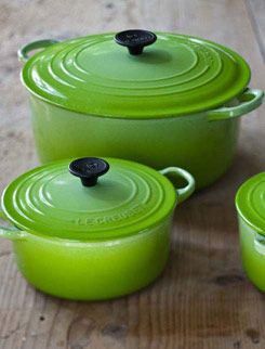 Le Creuset dutch ovens in various sizes - worth their weight in gold I love mine they are black but I love the green!!!