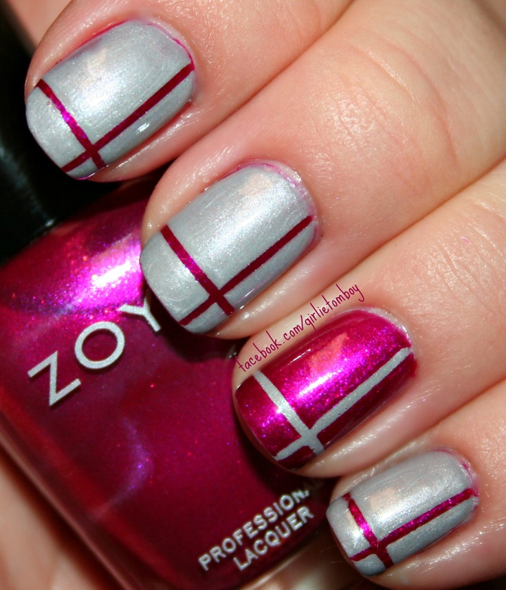 Nail Art Using Striping Tape: Striping Tape Art Using Zoya Anaka & Zoya Harley