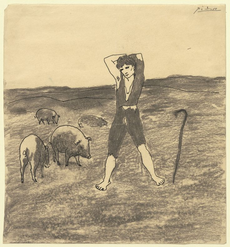 """Pablo Picasso The Swineherd (1906) Charcoal and ink on paper 8 3/8 x 7 3/4"""" (21.3 x 19.7 cm) Gift of Mr. and Mrs. Daniel Saidenberg"""