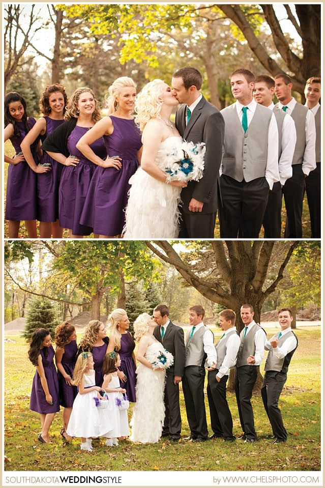 Feather and Peacock Teal and Purple | Mitchell, SD Wedding