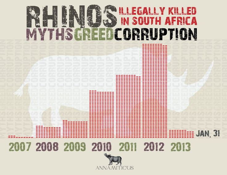 "At least 57 rhinos have been massacred in South Africa during the first 31 days of 2013, according to the Department of Environmental Affairs.  Annamiticus (http://s.tt/1zgGq)  The Environmental Investigation Agency points out that upholding the CITES ban on rhino horn trade allowed rhino populations to stabilize, and kept illegal killings to a minimum for over a decade ""until South Africa began to push for legal trade in rhino horn""."
